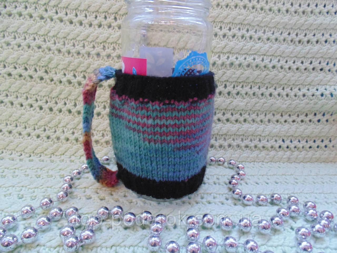 Вязаный чехол для стакана,кружки,бутылки,банки