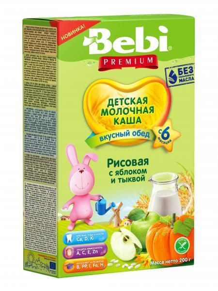 Молочная каша Bebi Premium Рисовая с яблоком и тыквой, 200 г