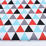 """Лоскут ткани """"Треугольники серые, бирюзовые, красные"""", №1205а, фото 2"""