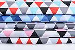 """Лоскут ткани """"Треугольники серые, бирюзовые, красные"""", №1205а, фото 3"""