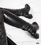 Шикарные женские кожаные сапоги с красивой шнуровкой, фото 4