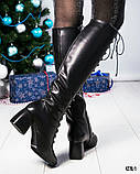 Шикарные женские кожаные сапоги с красивой шнуровкой, фото 6