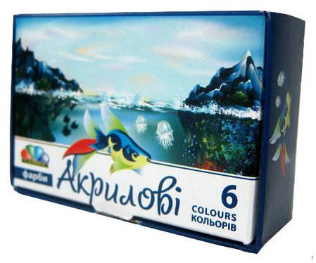 Краски акриловые Гамма 221036 6 цветов по 10мл, фото 2