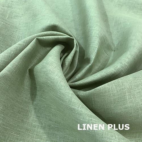 Бледно-зеленая льняная ткань  100% лен, цвет 1467