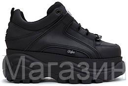 Женские кроссовки на платформе Buffalo London 1339 Black Platform Sneakers Буффало Лондон черные