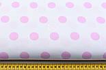 Польская ткань с розовыми горохами 23 мм на белом фоне №399, фото 2