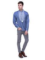 Льняная мужская вышиванка синяя, арт. 4219