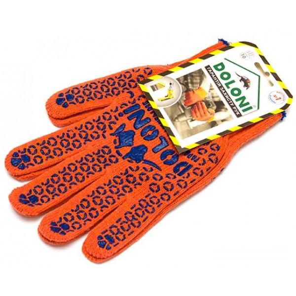 Перчатки 526 оранжевые (долоня-точка) плотность 3 нитки  ХБ-70%/ПЕ30%  Укр.