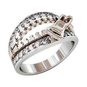 Кольцо серебряное Молния с камнями