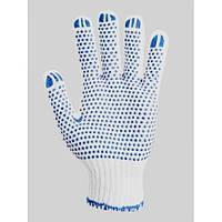 Перчатки 547 белые (долоня-синяя точка) плотность 2 нитки  ХБ-70%/ПЕ30%  Укр.