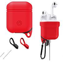 Силиконовый чехол C-KU для наушников AirPods Red с карабином