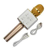Портативный Bluetooth микрофон-караоке Q7 MS + чехол Золотой (987413)