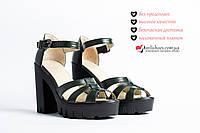 ✮Босоножки женские кожа зеленая на каблуке и платформе. Кожа натуральная высокого качества.