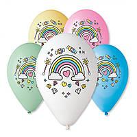 """Воздушные шары Gemar с рисунком 12"""" - 30 см ( Единорог радуга )"""