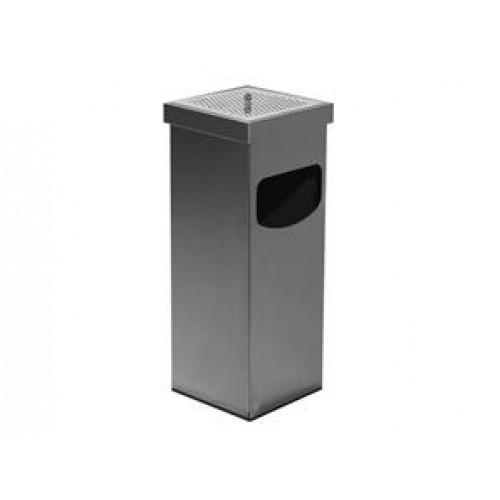 0290 Урна-пепельница, квадратная,из нержавеющей стали,сатин 35 л