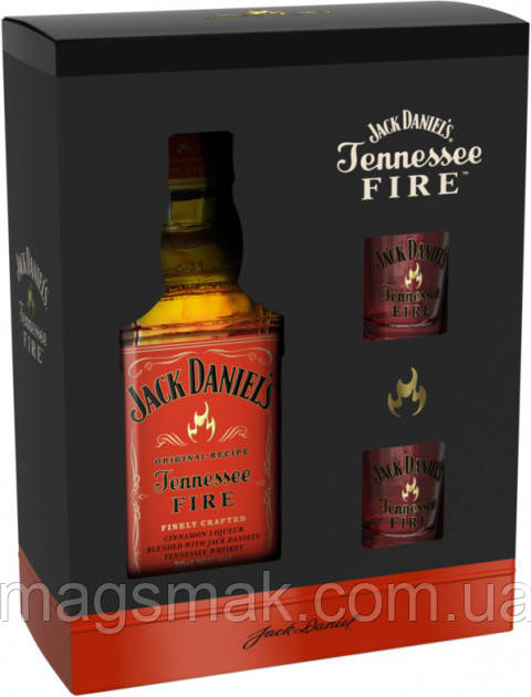 Ликер Jack Daniels Tennessee Fire 35% 0.7л + 2 стакана