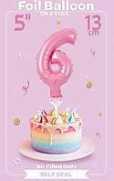 Шарик фольгированный на палочке цифра 6 розовая