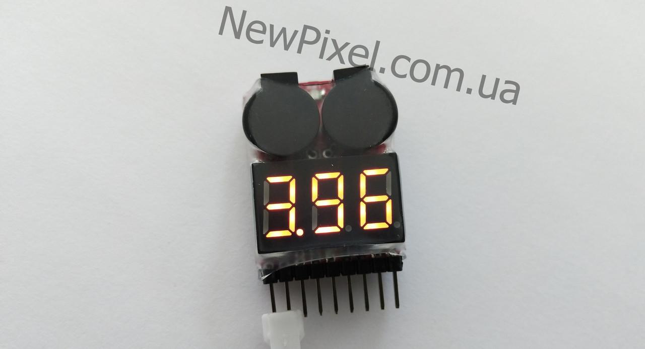 Вольтметр для аккумуляторов квадрокоптера 1S-8S