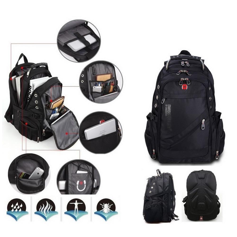 e356c6d49a3d Швейцарский рюкзак WENGER SwissGear 8810 black с дождевиком, USB-кабелем,  разъёмом под наушники