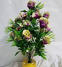 Букет роз с ромашкой NC-16-78, (7 шт./уп.) Искусственные цветы оптом, фото 3