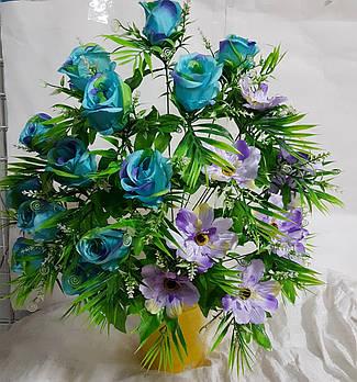 Букет роз с ромашкой NC-16-78, (7 шт./уп.)  продается упаковкой Искусственные цветы оптом