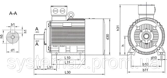 АИР80А2 - IM1081 на лапах (габаритные и установочные размеры)