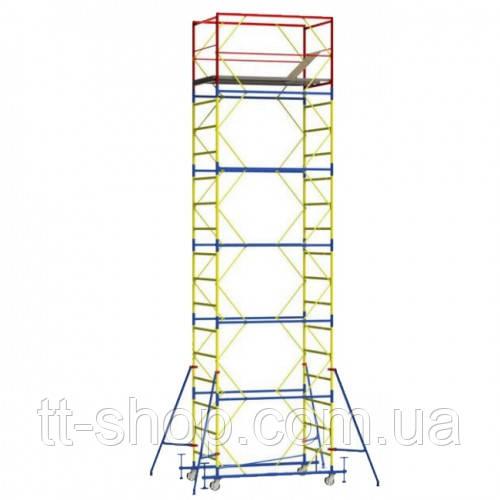 Вышка - тура - ширина 0,8 м, длина 1,6 м, высота настила - 6,4 м, рабочая высота - 8,4 м