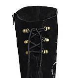 Ботфорты замшевые женские демисезонные, декорированы накаткой камней., фото 7