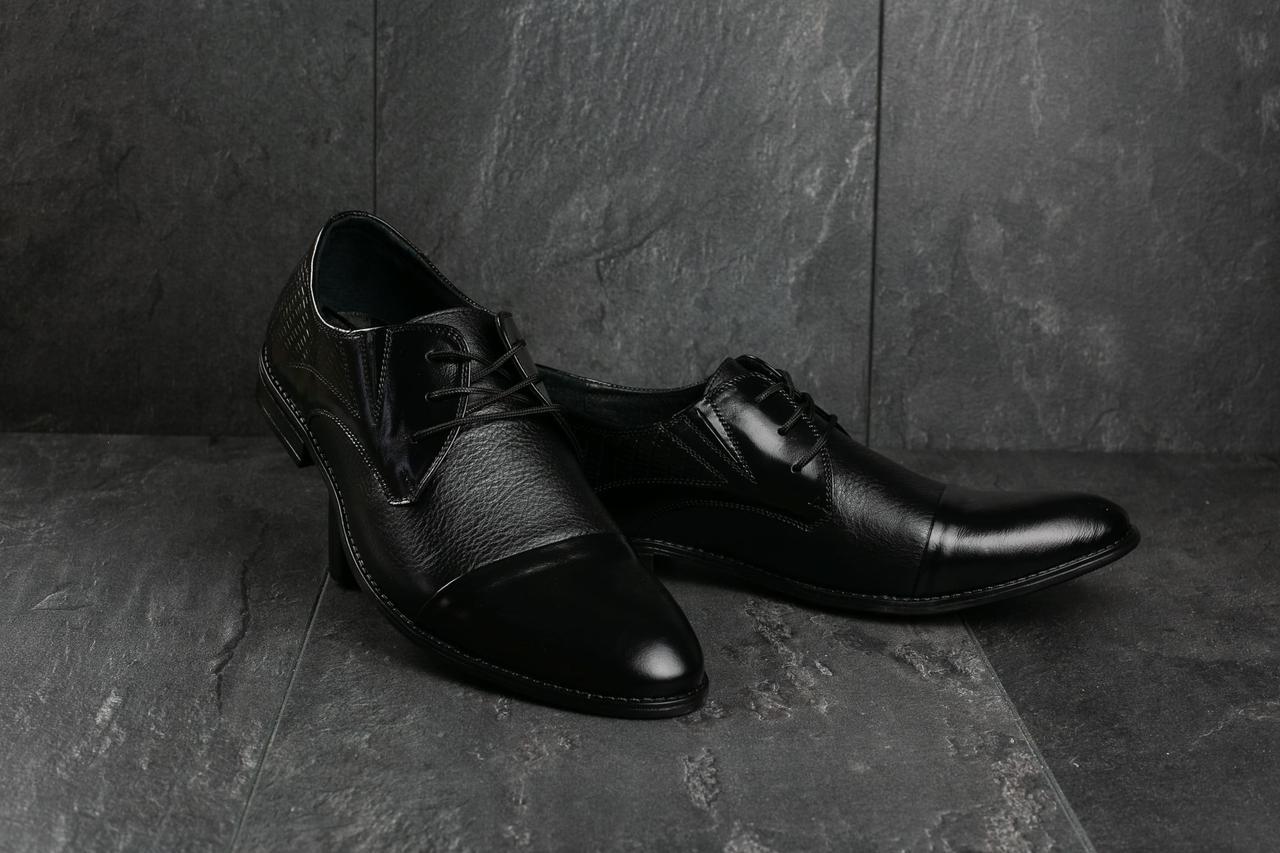Мужские туфли Slat 17105 (весна-осень, мужские, кожа, черный)