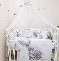 """Комплект в кроватку """"Magic зайчата""""для круглой/овальной и стандартной кроватки"""