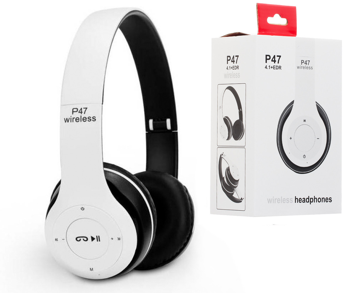 Наушники накладные с Bluetooth P47 бело-чёрного цвета