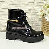 Ботинки женские демисезонные лаковые на шнуровке, подошва утолщенная, фото 2