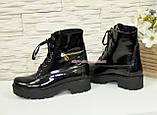 Ботинки женские демисезонные лаковые на шнуровке, подошва утолщенная, фото 3