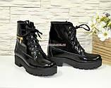Ботинки женские демисезонные лаковые на шнуровке, подошва утолщенная, фото 4