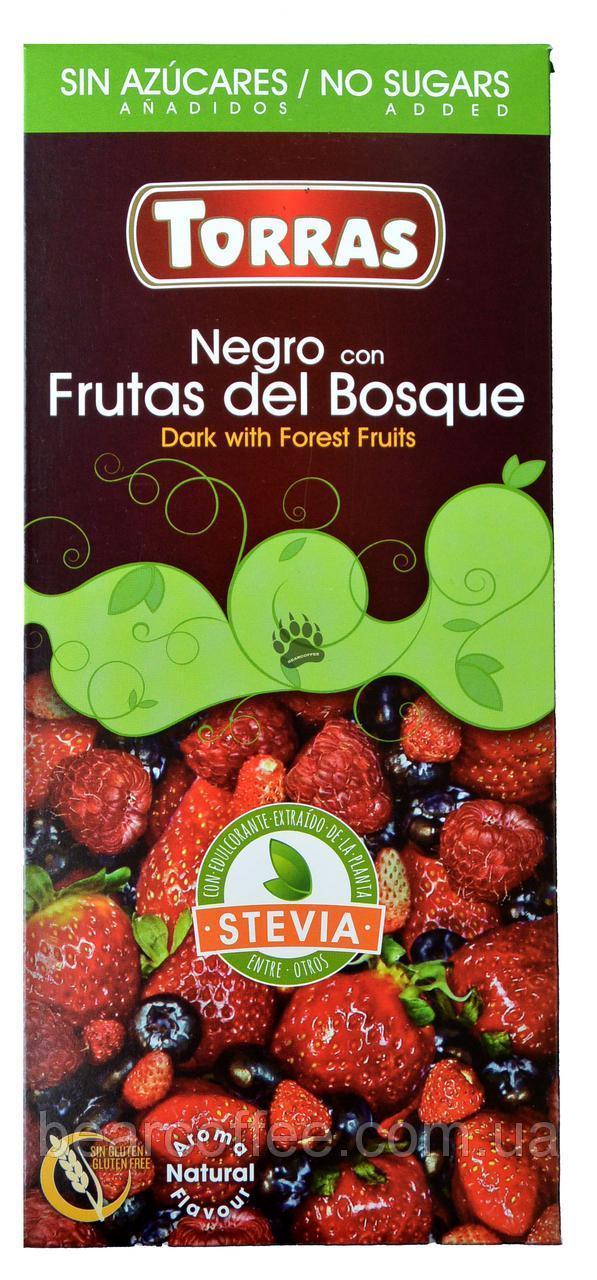 Шоколад черный Torras 72% Стевия с лесными ягодами 125г. Torras Stevia Negro Frutas Bosgue
