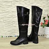 Ботфорты кожаные женские демисезонные на каблуке, черного цвета., фото 2