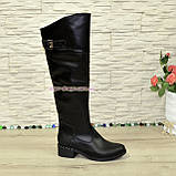Ботфорты кожаные женские демисезонные на каблуке, черного цвета., фото 3