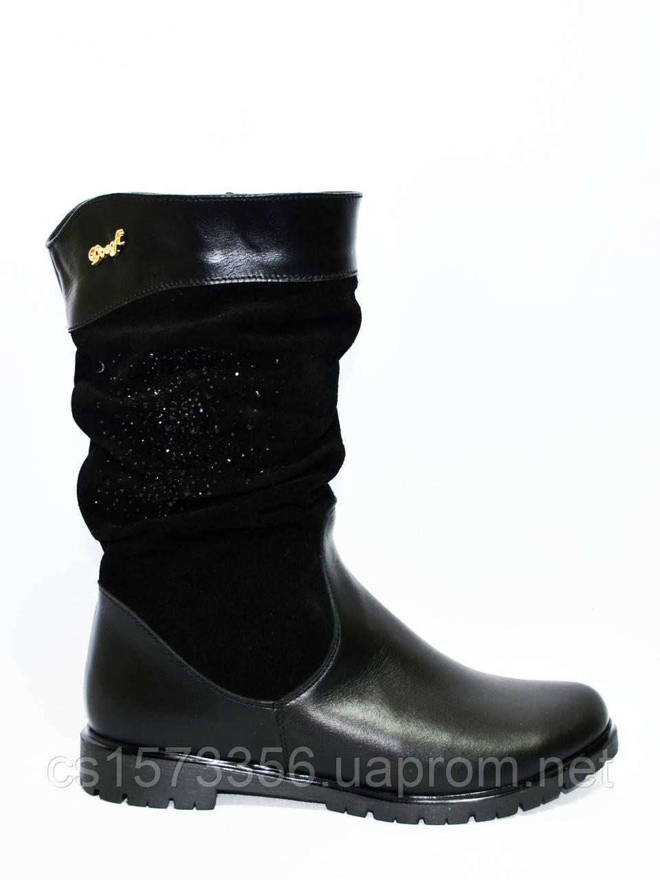 Женские демисезонные ботинки на низом ходу, замша и кожа, декорированы накаткой камней.