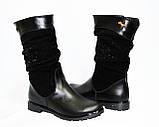 Женские демисезонные ботинки на низом ходу, замша и кожа, декорированы накаткой камней., фото 4