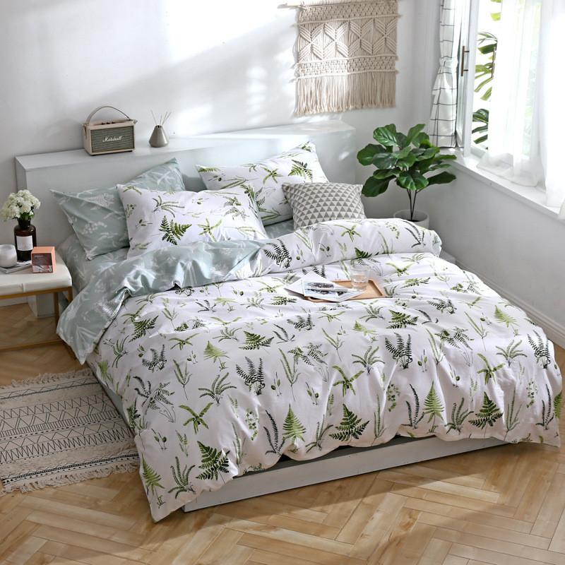Хлопковое белое постельное белье Листья папоротника (полуторный)