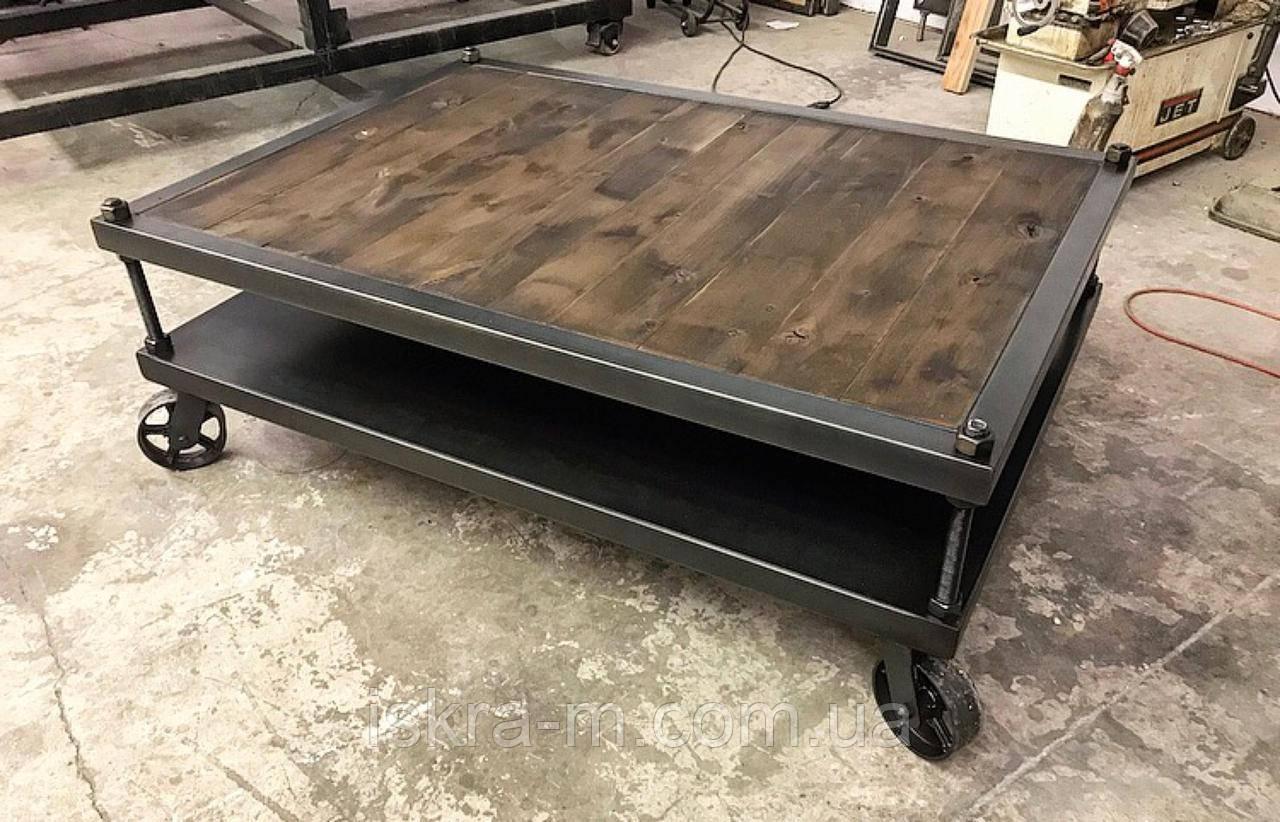 Кофейный столик передвижной индастриал