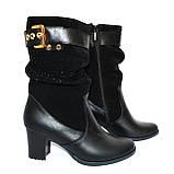 Стильные демисезонные женские ботинки на невысоком каблуке, натуральная кожа и замш, фото 2