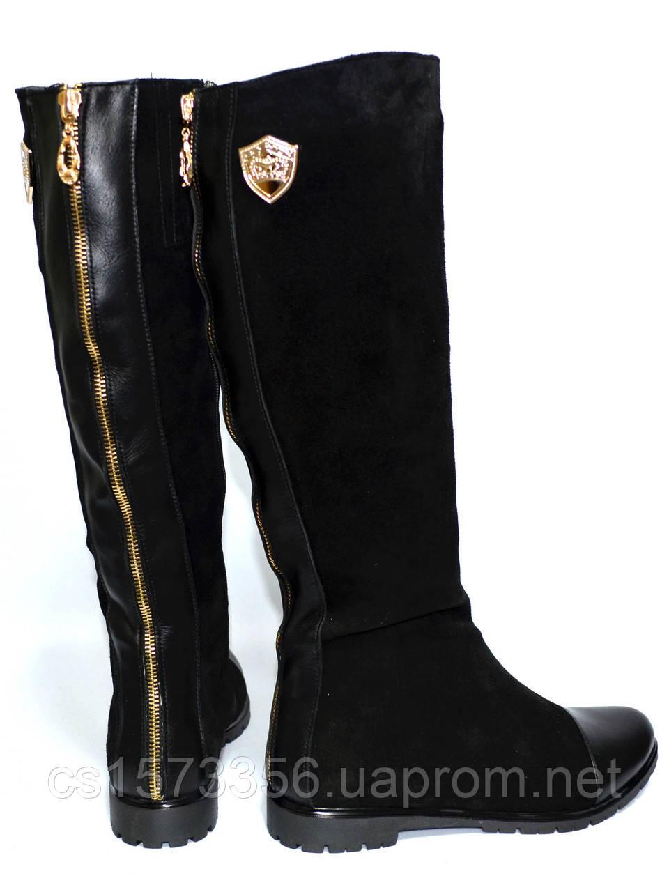 Жіночі замшеві чоботи демісезонні на байку.