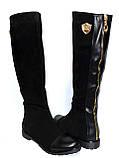 Жіночі замшеві чоботи демісезонні на байку., фото 6