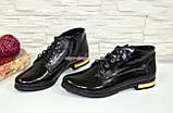 Стильные женские лаковые ботинки, внутри на байке., фото 4