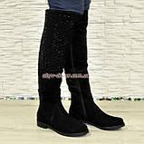 Ботфорты женские черные замшевые демисезонные на низком ходу, фото 4
