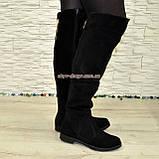Ботфорты женские черные замшевые демисезонные на низком ходу, фото 5