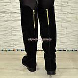 Ботфорты женские черные замшевые демисезонные на низком ходу, фото 6