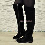 Ботфорты женские черные замшевые демисезонные на низком ходу, фото 7