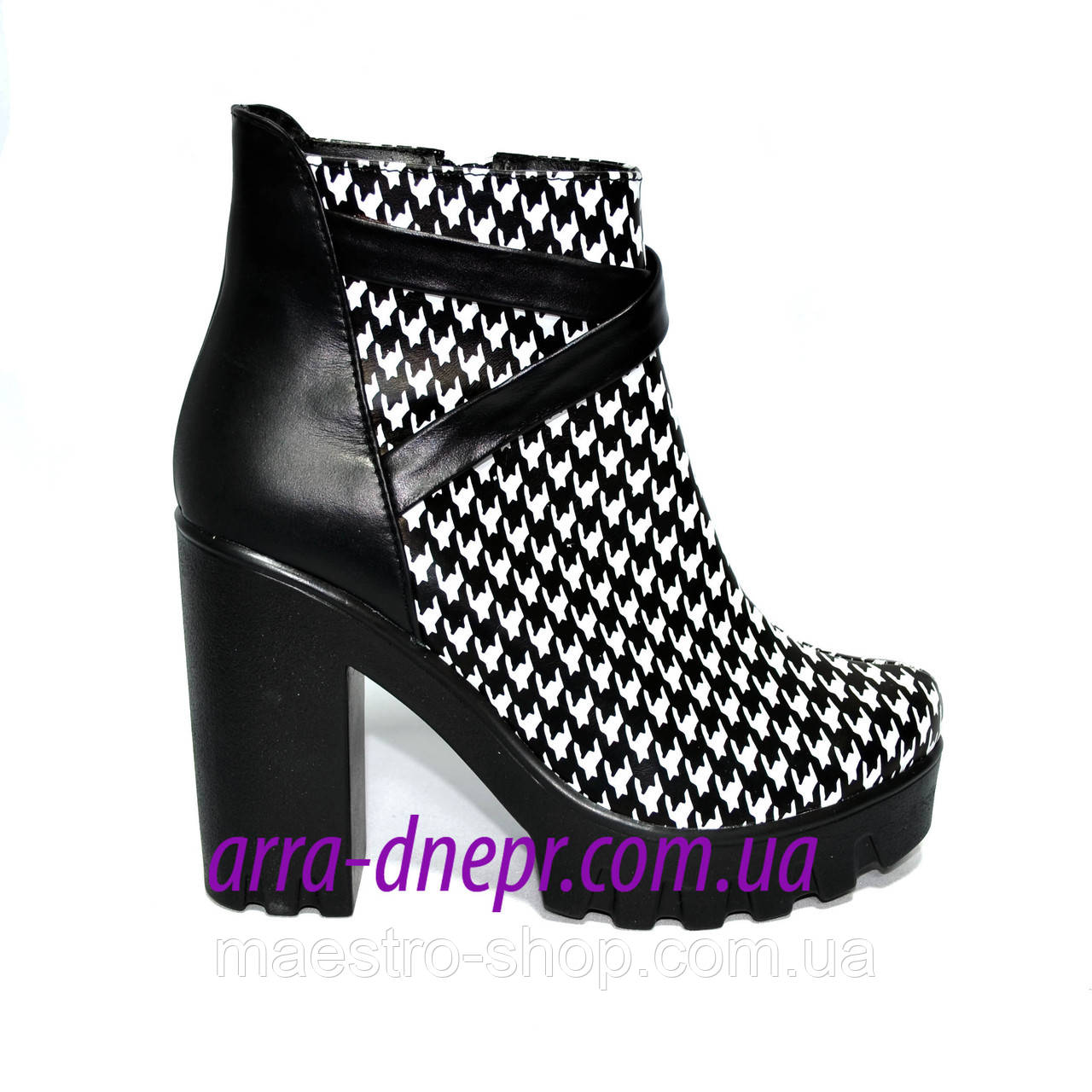 """Женские демисезонные ботинки на тракторной подошве, кожа """"гуси"""""""